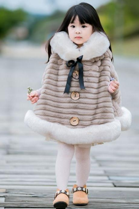 RSS Boutique FREE SHIPPING Fluffy and Thick Brown Beige Ponchos for Girls Winter Coats Fur Cozy Brown Hooded Coats