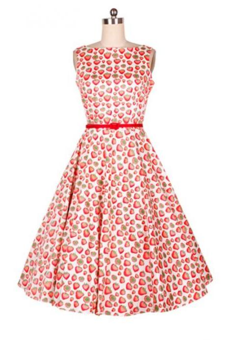 Printed Strawberry Dresses for Women with Red Belt