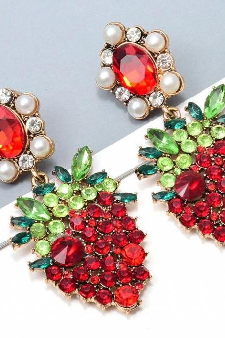 Strawberry Drop Earrings for Women New Strawberry Crystals