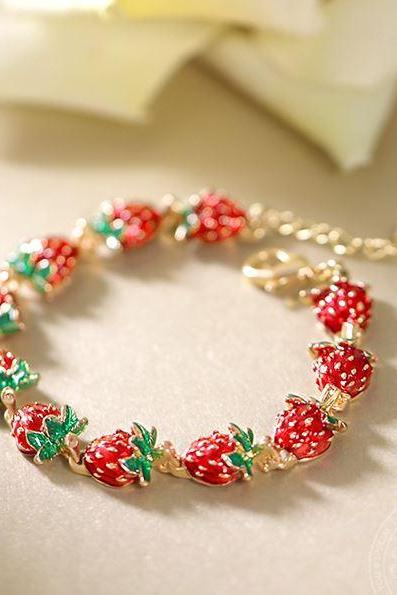 Strawberry Bracelets for Women Free Shipping Strawberry Crystal Bangles