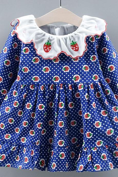 Printed Strawberry Baby Dresses Ruffled Warm Flannel Spring Polka Dots Dress for Infant Girls
