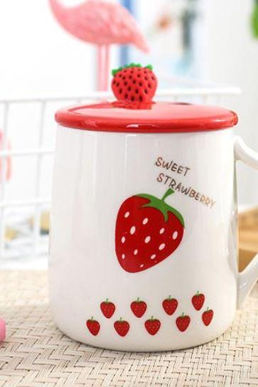 Strawberry Mugs for Women Sweet Strawberry Theme for Kitchen Wares-Strawberry Collections-Strawberry Coffee Cups-Candy Jars