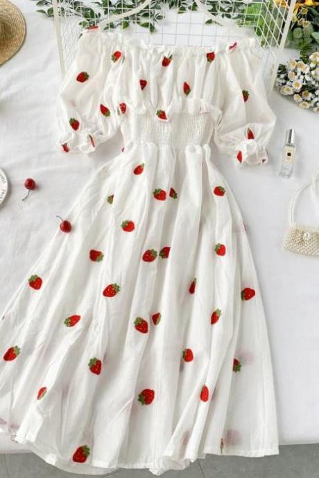 Strawberry Dresses for Teenage Girls and Women Off Shoulder Summer Dress with Strawberry Prints