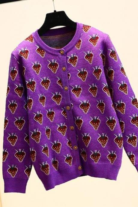 Button Up Strawberry Sweaters for Women High Quality Thick Purple Sweaters with Strawberry Patchworks Pullovers Runway