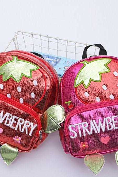 Strawberry Backpacks for Kindergarten Bags Anti-lost Travel Backpacks-Strawberry Nursery Theme Decor-Make Up Bags-Leather Bags