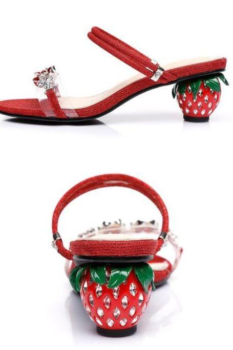 Classy Strawberry Shoes for Women Open Tow Shoes with Strawberry Heels-Chunky Heel Shoes Fairy Footwear