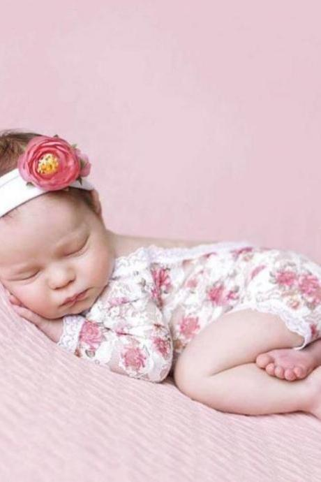 Strawberry Props for Newborn Baby Girls Photography Accessory Floral Lace Rompers with Flower Headband