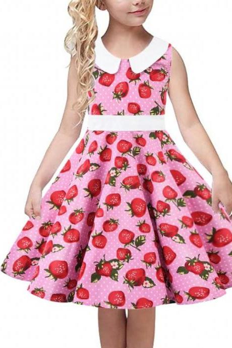 Casual Formal Strawberry Dresses for Tween Girls with Free Bow Headband