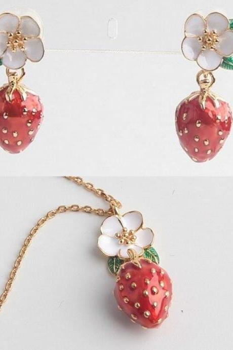 Strawberry Jewelry Set for Women Gold Plated Earring Gold Plated Necklace-Birthday Gift-Christmas Gift