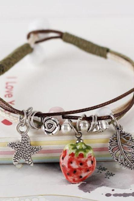 Strawberry Leather Bracelets for Women Free Shipping Strawberry Handmade Leather Jewelries
