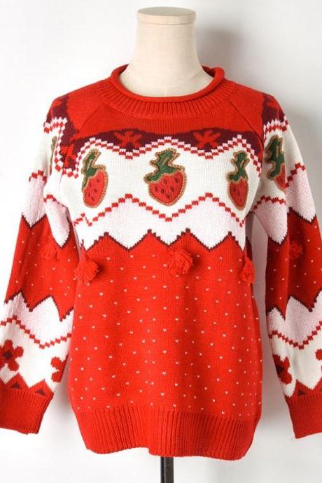 Patchwork Strawberries Christmas Sweaters with Zigzag Pattern-Red Polka Dots Sweaters for Women-Turtleneck Sweaters for Women