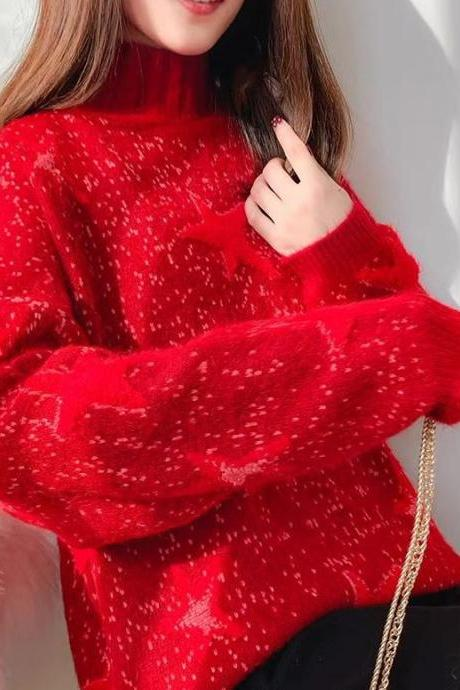 Pretty Red Sweaters with Stars and Speckled Pattern-Plus Size Sweaters-Turtleneck Loose Fit Sweaters