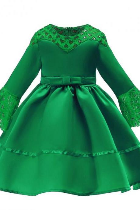 Free Tiara for Green Dress Sequined Formal Dress for Birthday Girl Birthday Dress Fashion Dress for Girls-Quarter Sleeves Green Dress-Green Tutu Dress