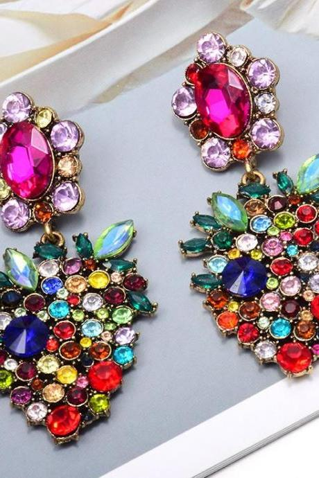 Multicolor Fruit Strawberry Drop Earrings for Women Adorable Strawberry Crystals