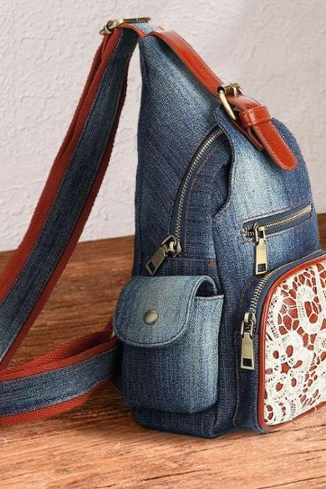 Denim Lovers Backpacks Casual Travel Floral Lace Sling Bags for Women Denim Chest Bag
