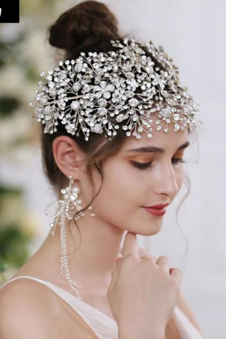 Unique Silver Diamonds Bridal Crown for Wedding Hair Accessories Luxury Clear Crystals-Silver Fascinators For Weddings-FREE LONG EARRINGS