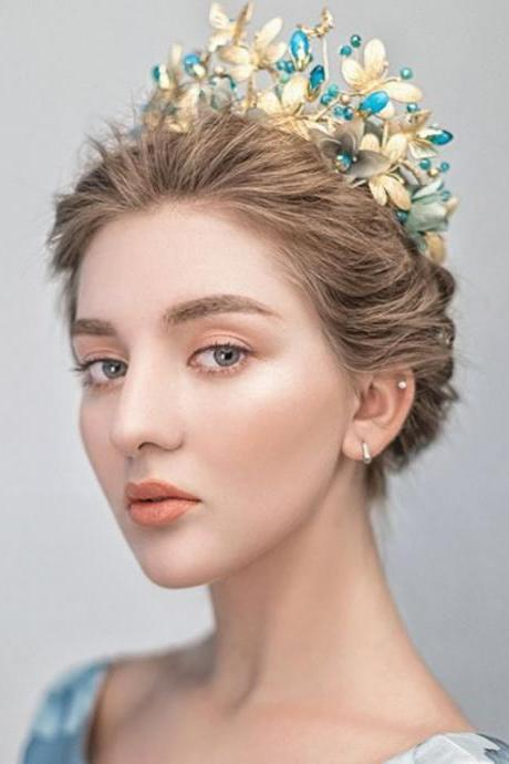 European Queen Headpiece for Women Bridal Crowns and Free Earrings-Vintage Blue Flower with Golden Butterfly Baroque