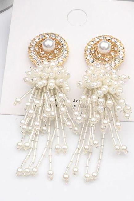 Gold Band Dream Catcher Pearl Earrings for Women-Bridal Jewelries-Dangling off White Pearl Earrings-Round Earrings with Pearl Tassels