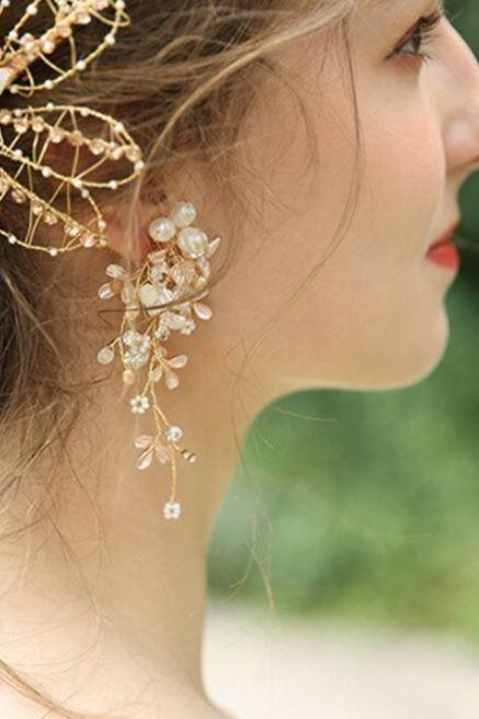 Real Pearls Bridal Jewelries-Dangling Pearl Earrings for Women-Long Pearl Tassels and Flower Beads