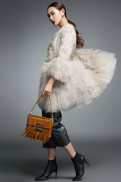 Real Lamb Fur Coats for Women Natural Lamb Fur - Authentic Mongolia Sheep Fur Coats