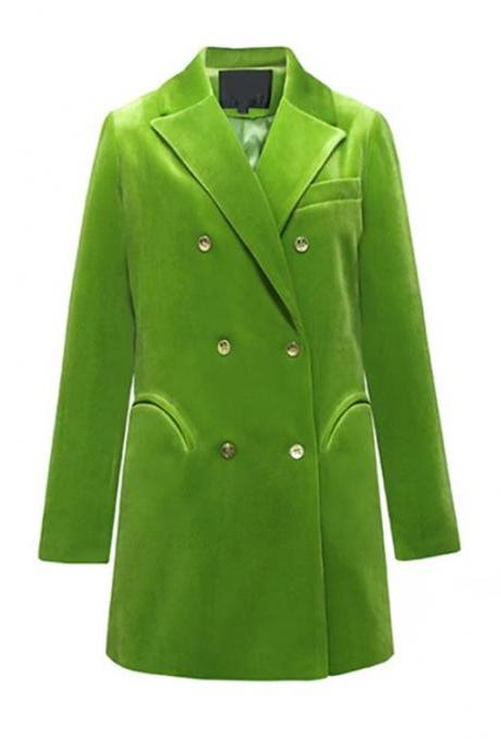 Very Soft Velvet Green Blazers for Women-High Quality Runaway Blazers for Professional Women