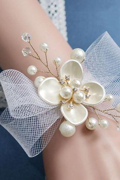 Bridal Shower Party and Accessories-Ivory Pearl Bridal Bracelets-Four Petal Pearl Bracelets for Women-Ribbon Net Tie
