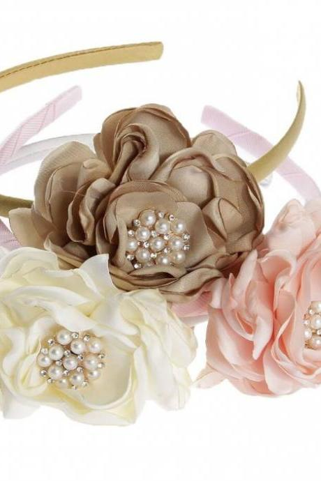 3pcs/SET Headbands for Flower Girls-Beige and Ivory Color Motif Wedding Accessories