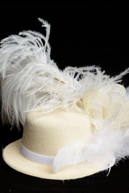 In Stock Feather Fascinator for Women-Cream Mini Top Hat Organza Mesh Hair Clip Girl Fascinator