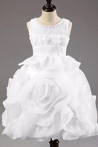 SALE! White Dress for Flower Girls-Tween Girls White Dresses-Wedding Dress with Organza Big Rose