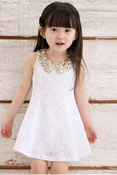 Free Shipping Dresses-SALE! White Dresses for Infant Girls White Dress-Embroidery Sequined Golden Collar