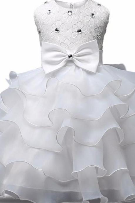 White Dress for Baby Girls Tiered Ready to Ship Flower Girls Bows and Crystals White Christening Dresses-Free Headbands