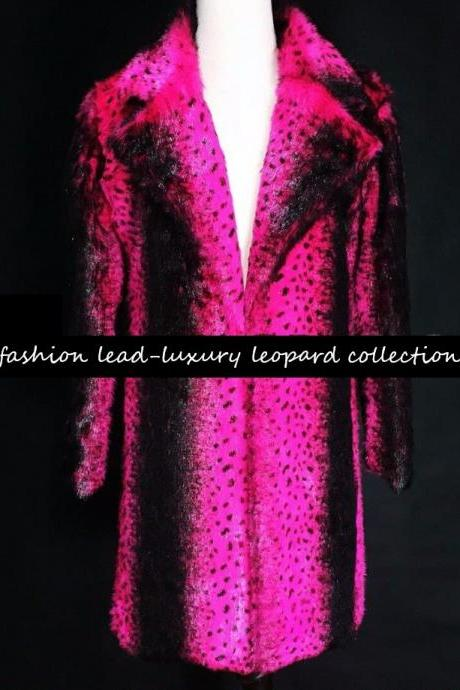 New Fashion Hotpink Coats for Women Luxury Leopard Collections-Faux Fur Chunky Overcoats for Women