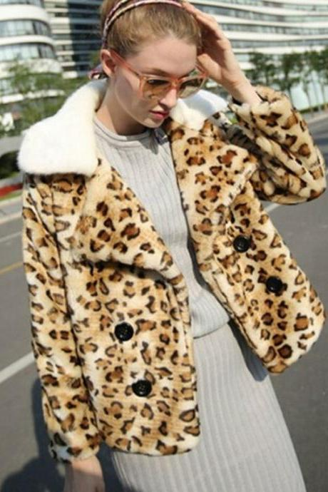Cropped Jackets for Women Faux Mink Fur Leopard Prints-New Fashion Leopard Jackets for Women