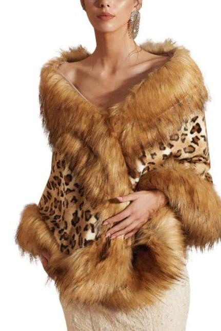 Leopard Faux Fur Shawls for Women Autumn Thicken Wrap Around Ladies Coat Warm Body Wraps