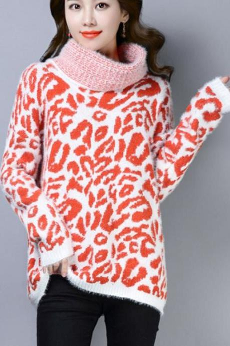 Orange Red Leopard Sweaters for Women-Turtleneck Sweaters Warm Cashmere Tops for Women
