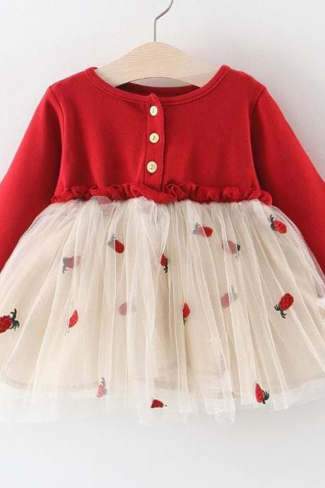 Fashion Strawberry Baby Girl Clothes-New Baby Girl Dress Cotton Material Red Toddler Dress Strawberry Print-Baby Shower Dresses Gift