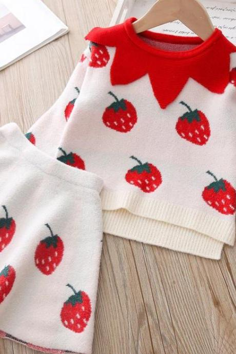 Fashion Strawberry Prints Sweater for Girls with Matching Off White Strawberry Skirt for Girls-Free Strawberry Headband for Girls