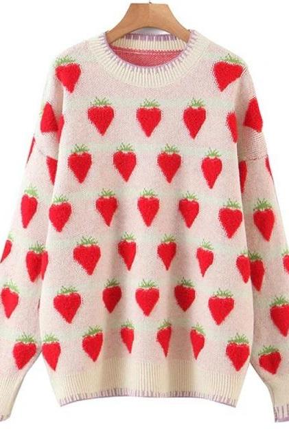 Rsslyn Fashion Sweaters for Women Embroidered Patchwork Strawberry Pattern Strawberry Tops for Women