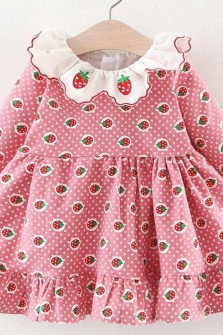 Patchwork Pink Strawberry Baby Dresses Ruffled Warm Flannel Spring Polka Dots Dress for Infant Girls