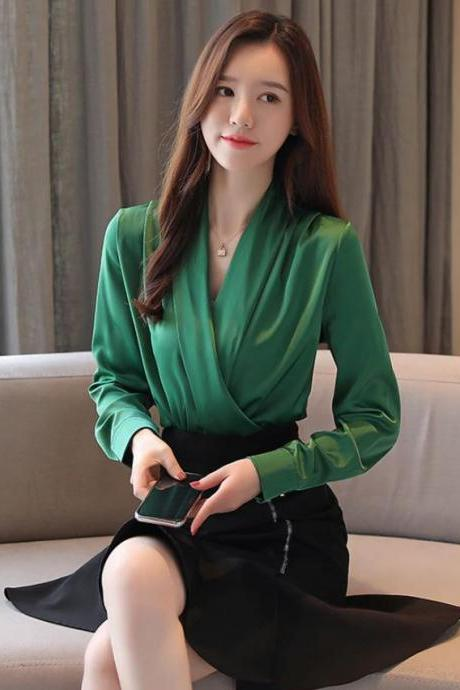 Green Blouses for Women for Work-New Dark Green Tops for Women Silk Blouses for Elegant Women