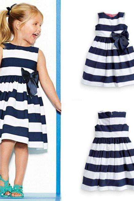Navy Blue and White Stripes Dresses for Baby Girls with Bow-Free Bow Headbands for Little Girls