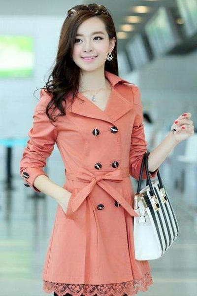 Orange Trench Coats Laces Tunic Dress for Women Spring Tunic Dress