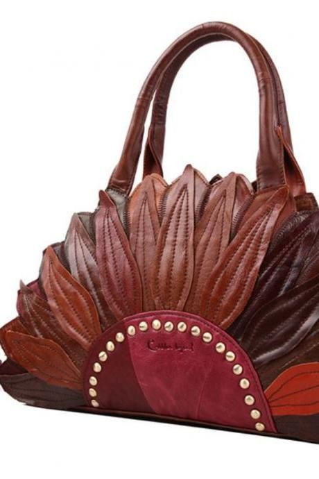 Floral Purse for Women Genuine Cow Leather Handmade Purse Lady Bags