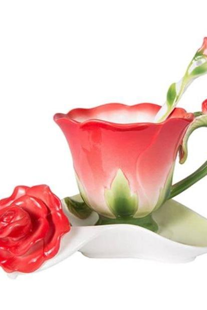 Rsslyn 3pcs/SET 3D Rose Ceramic Coffee Tea Cup Saucer and Spoon Personal Use Feminine Home Valentine Gift