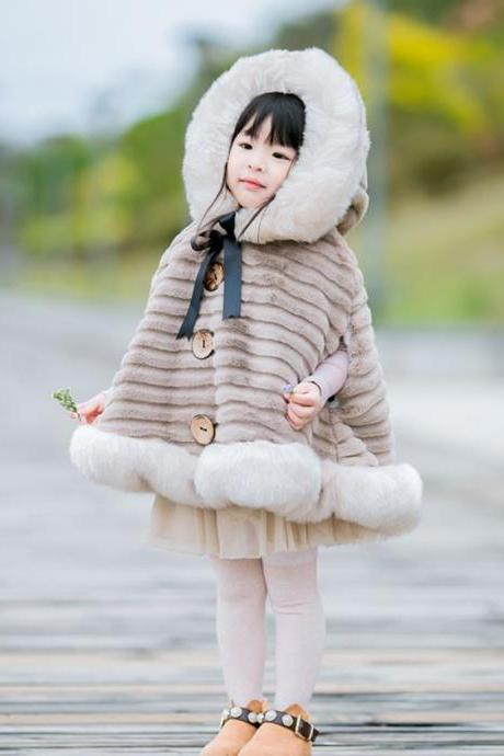 Girls Cutest Poncho FREE SHIPPING Fluffy Beige Ponchos for Girls Winter Coats Fur Cozy Ivory Hooded Coats for Baby Girls