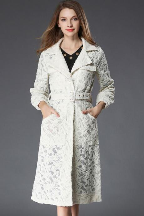 High Quality Ivory Lacy Dress for Women-Trench Coats Off White Dress Coats for Women Patchwork-Embroidery Lacy Coats