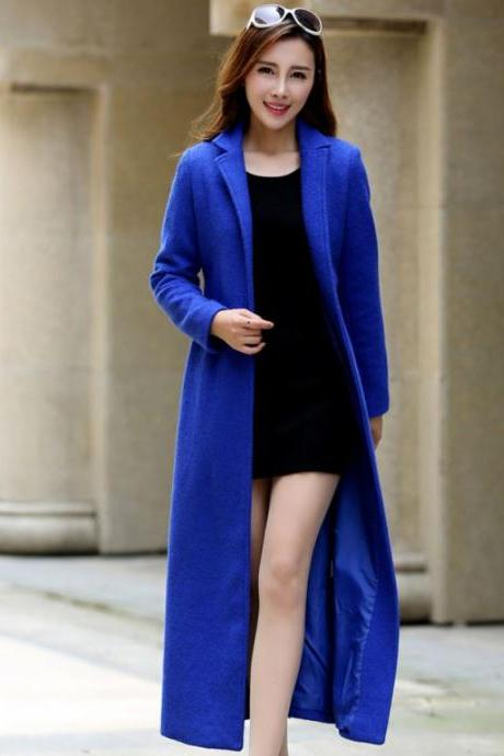 Free Royal Blue Scarf for New Fashion Royal Blue Trench Coats Wool Coats Warm Overcoats for Women