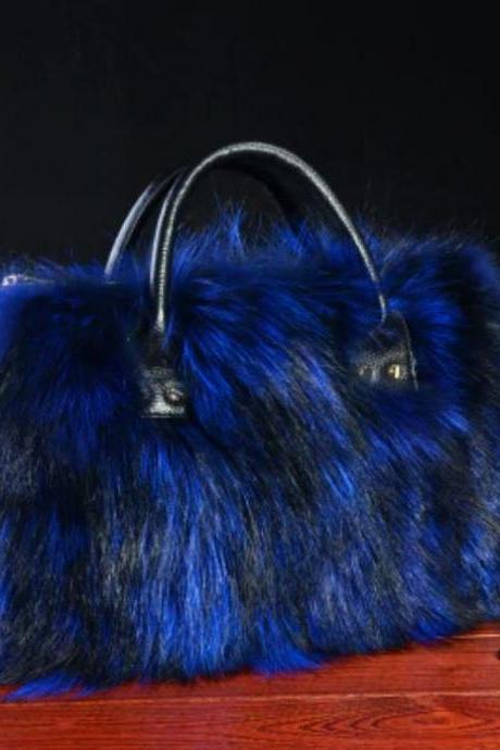 High Quality Large Bags Real Fox Fur Royal Blue & Black Super Soft Fur Tote Bags for Rich Women