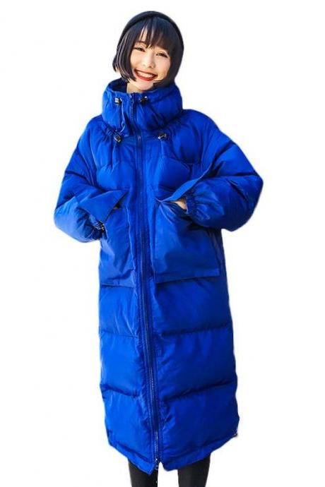 Royal Blue Overcoats for Women-Plus Size Overcoats-Royal Blue Turtleneck Skiing Parkas for Heavy Winter-Royal Blue Outerwear for Women
