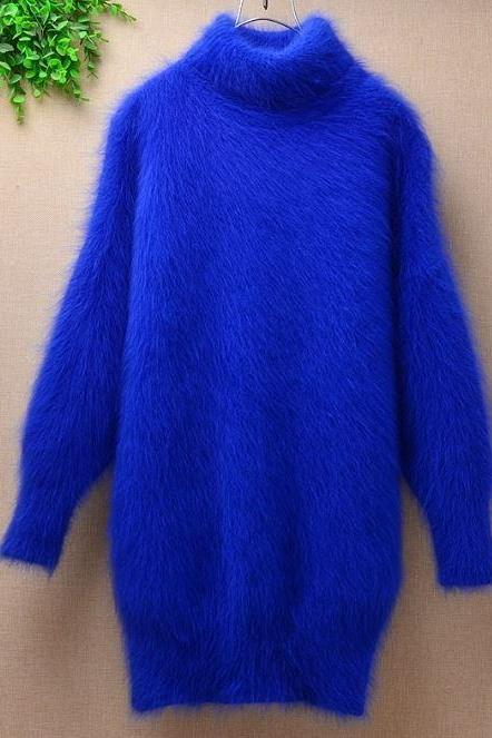 Angora Royal Blue Sweaters for Women-Royal Blue Turtleneck Collar Sweater Angora Rabbit Hair Material